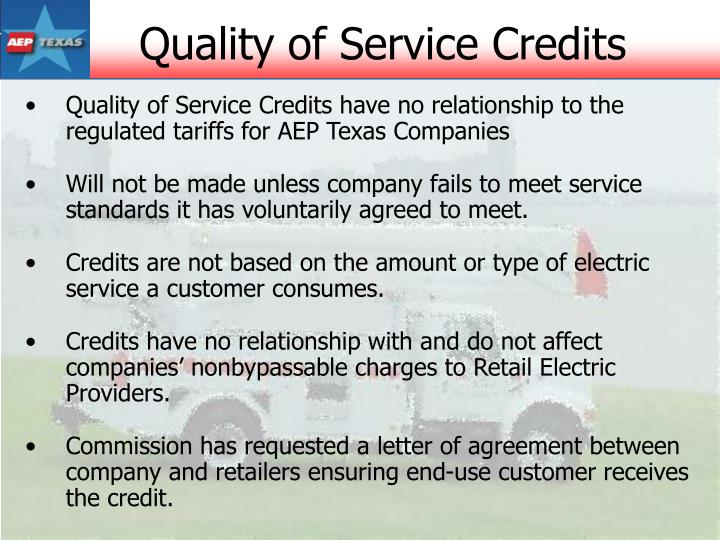 Quality of Service Credits
