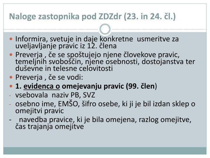Naloge zastopnika pod ZDZdr (23. in 24. čl.)