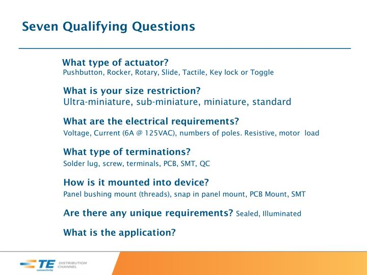 Seven Qualifying Questions