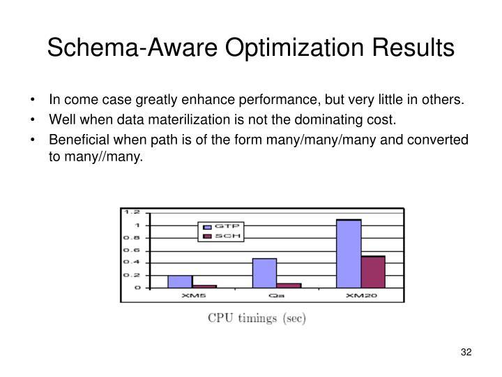 Schema-Aware Optimization Results