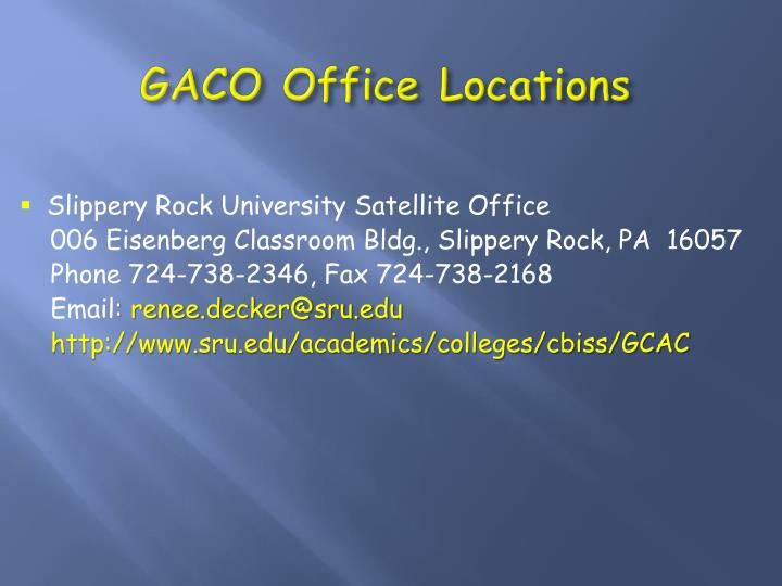 GACO Office Locations