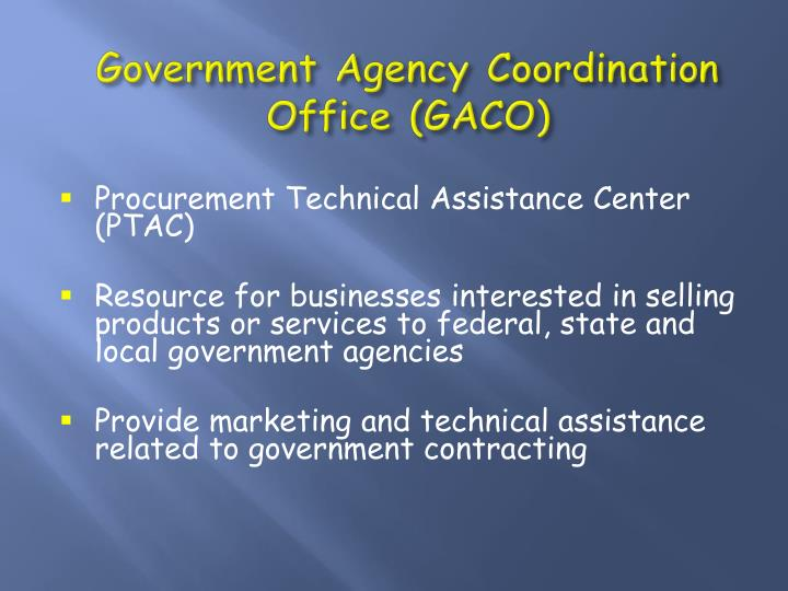 Government agency coordination office gaco