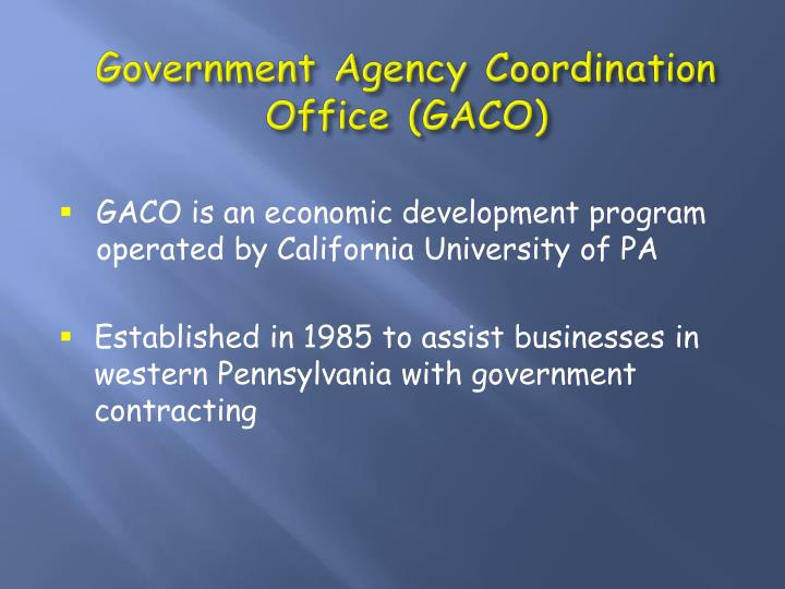 Government agency coordination office gaco1