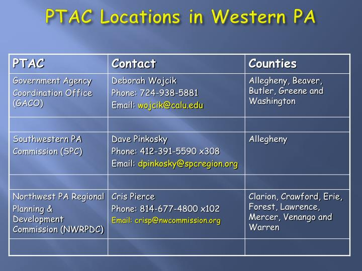 PTAC Locations in Western PA