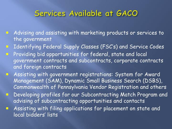 Services Available at GACO