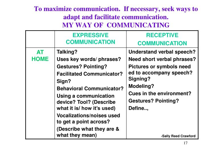 To maximize communication.  If necessary, seek ways to adapt and facilitate communication.