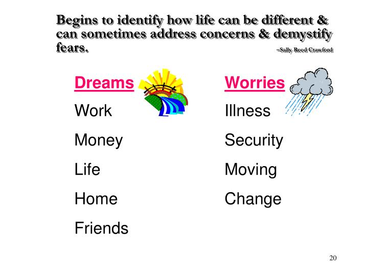 Begins to identify how life can be different & can sometimes address concerns & demystify fears.