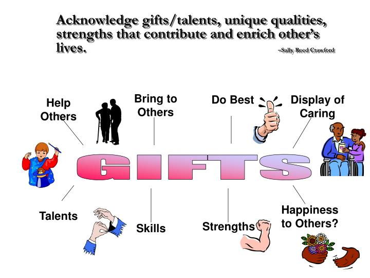 Acknowledge gifts/talents, unique qualities, strengths that contribute and enrich other's lives.