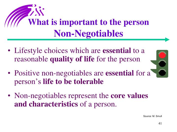 What is important to the person