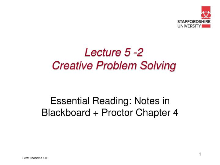 Lecture 5 2 creative problem solving