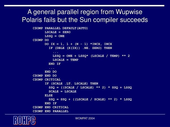 A general parallel region from Wupwise
