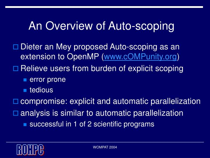 An overview of auto scoping