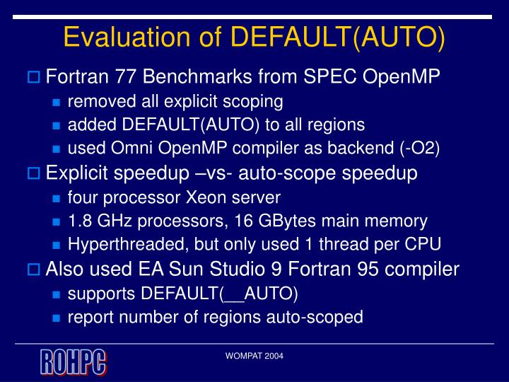 Evaluation of DEFAULT(AUTO)