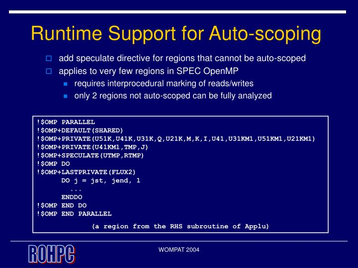 Runtime Support for Auto-scoping