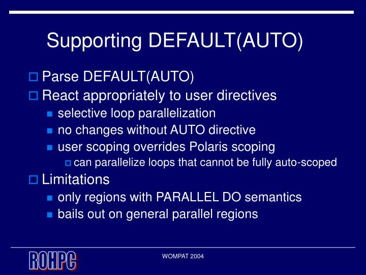 Supporting DEFAULT(AUTO)