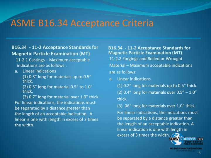 ASME B16.34 Acceptance Criteria