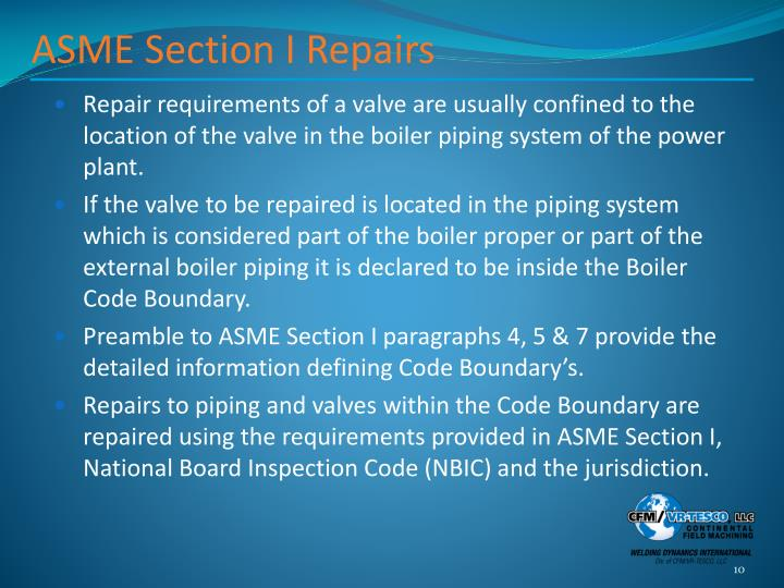 ASME Section I Repairs