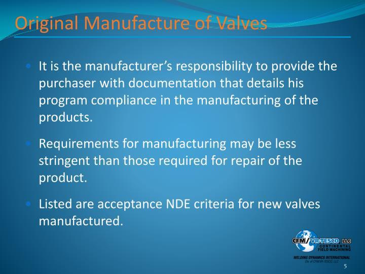 Original Manufacture of Valves