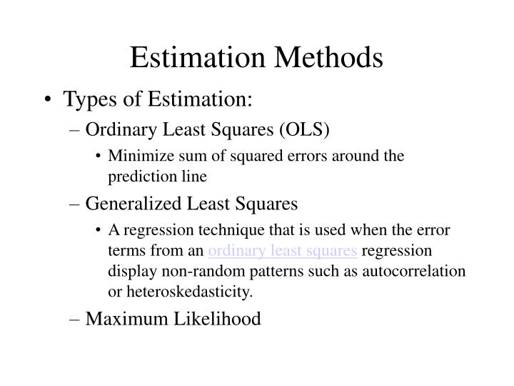 Estimation Methods