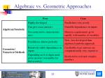 algebraic vs geometric approaches