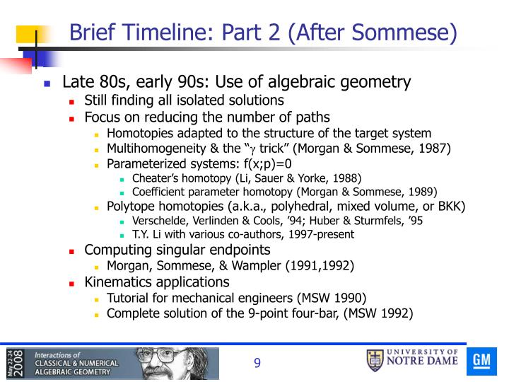 Brief Timeline: Part 2 (After Sommese)