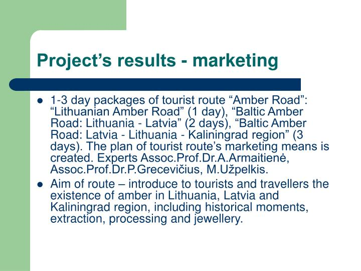 Project's results - marketing