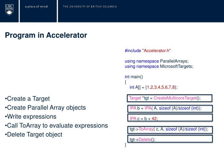 Program in Accelerator