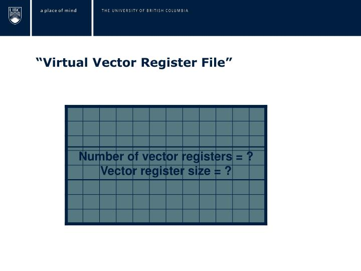 """Virtual Vector Register File"""