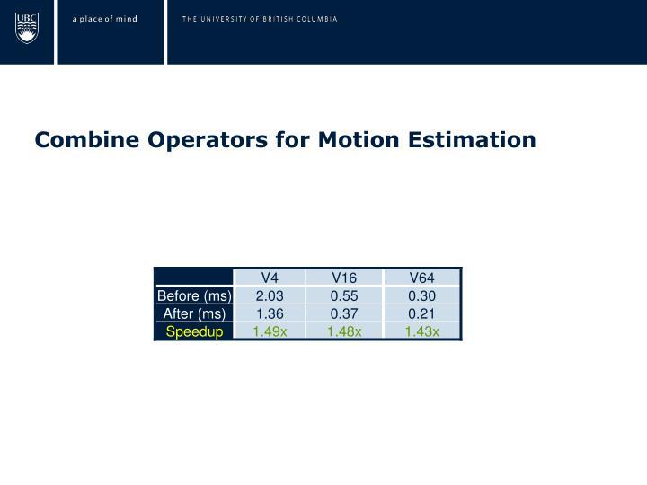 Combine Operators for Motion Estimation