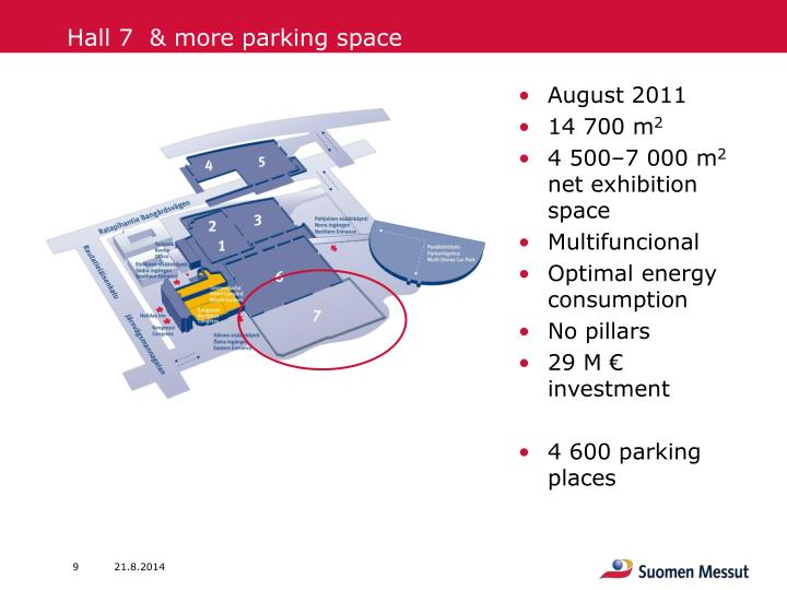 Hall 7  & more parking space