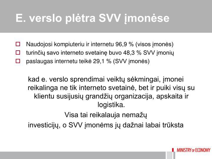 E. verslo plėtra SVV įmonėse