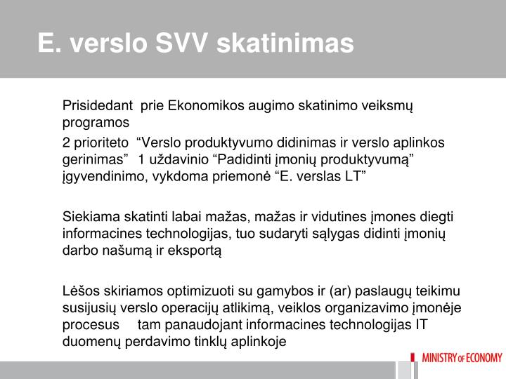 E. verslo SVV skatinimas