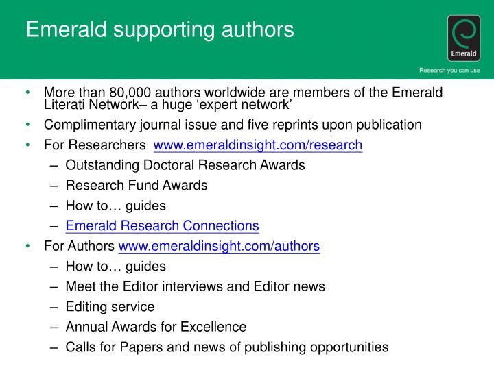 Emerald supporting authors