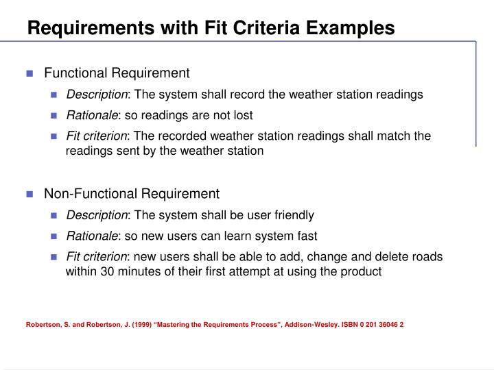 Requirements with Fit Criteria Examples