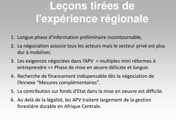 Leçons tirées de l'expérience régionale