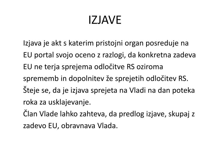 IZJAVE
