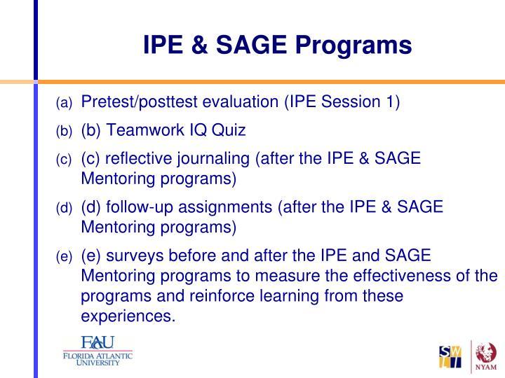 IPE & SAGE Programs