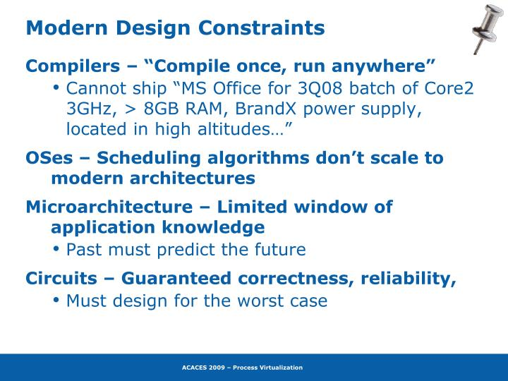 Modern Design Constraints