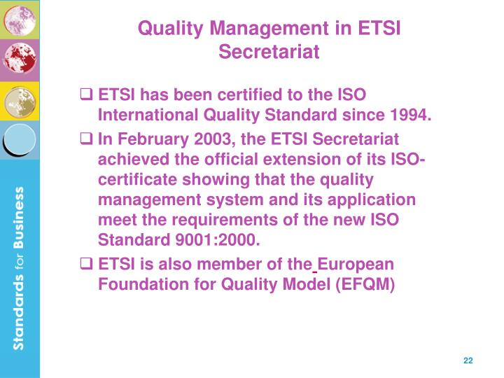 Quality Management in ETSI Secretariat