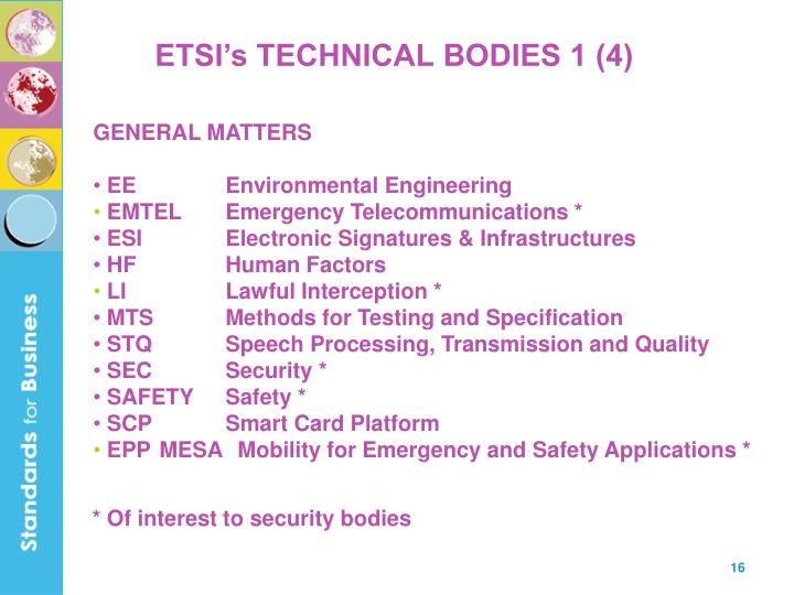 ETSI's TECHNICAL BODIES 1 (4)