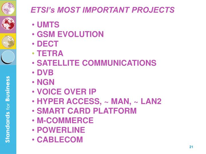 ETSI's MOST IMPORTANT PROJECTS