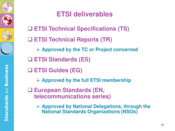 ETSI deliverables