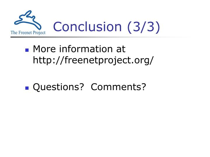 Conclusion (3/3)