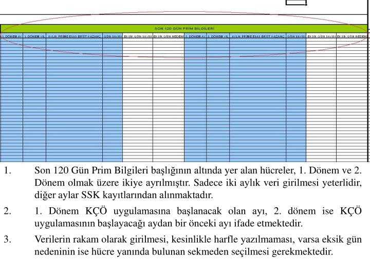 Son 120 Gün Prim Bilgileri başlığının altında yer alan hücreler, 1. Dönem ve 2. Dönem olmak üzere ikiye ayrılmıştır. Sadece iki aylık veri girilmesi yeterlidir, diğer aylar SSK kayıtlarından alınmaktadır.