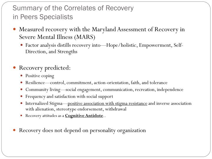 Summary of the Correlates of Recovery