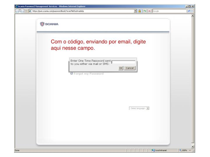 Com o código, enviando por email, digite aqui nesse campo.