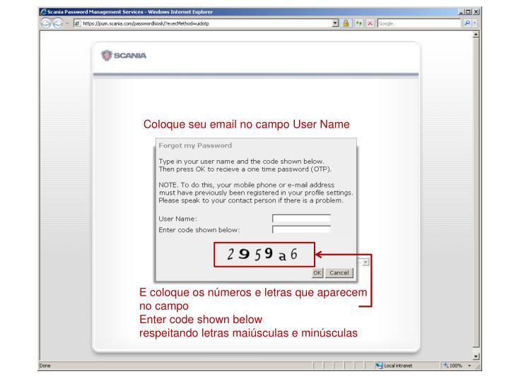 Coloque seu email no campo User Name