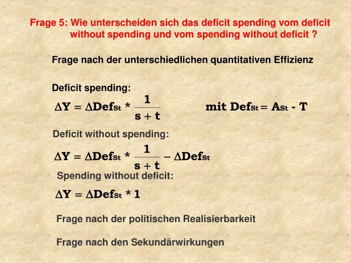 Frage 5: Wie unterscheiden sich das deficit spending vom deficit without spending und vom spending without deficit ?