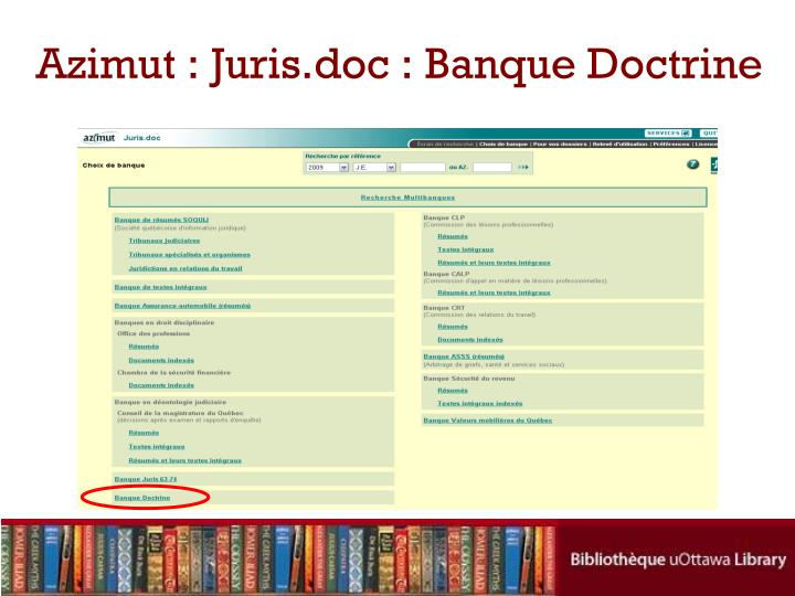 Azimut : Juris.doc : Banque Doctrine