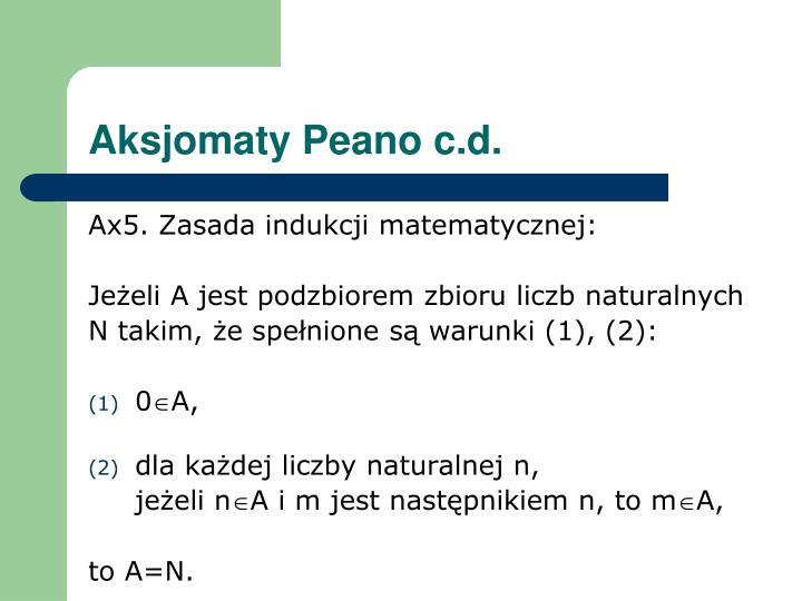 Aksjomaty Peano c.d.